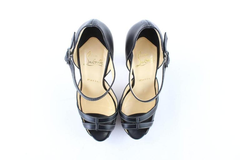 Christian Louboutin Black Strappy Open Toe 19clr1106 Platforms For Sale 3