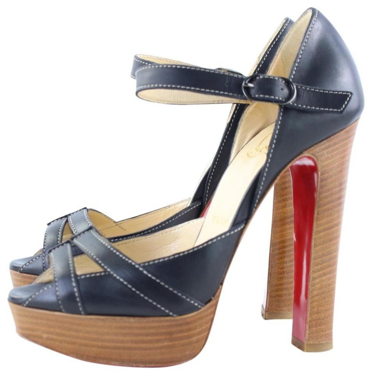 Christian Louboutin Black Strappy Open Toe 19clr1106 Platforms For Sale 4