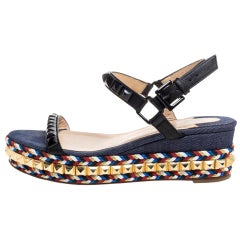 Christian Louboutin Black Studded Leather Espadrille Wedge Sandals Size 36