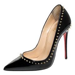 Christian Louboutin Black Studded Patent Leather Anjalina Pumps Size 36