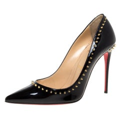Christian Louboutin Black Studded Patent Leather Pointed Toe Pumps Size 38.5