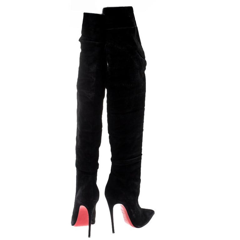 buy online 44ac9 709e9 Christian Louboutin Black Suede Alti Thigh Length Pointed Toe Boots Size  37.5