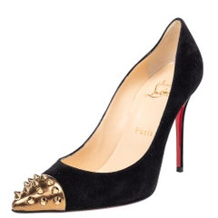Christian Louboutin Black Suede And Patent Leather Geo Pumps Size 37