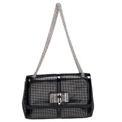 Christian Louboutin Black Suede and Patent Leather Sweet Charity Shoulder Bag