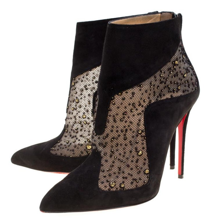 newest collection 1b1ad e00b3 Christian Louboutin Black Suede And Tulle Papilloboot Pointed Toe Ankle  Boots Si
