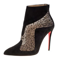 Christian Louboutin Black Suede And Tulle Papilloboot Pointed Toe Ankle Boots Si