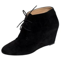 Christian Louboutin Black Suede Ankle Booties Size 38