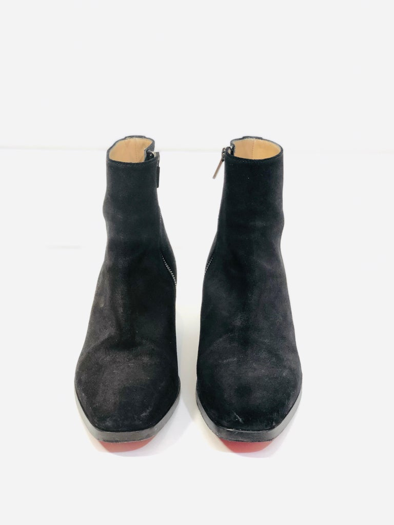 Christian Louboutin Black Suede Booties  In Good Condition For Sale In Southampton, NY