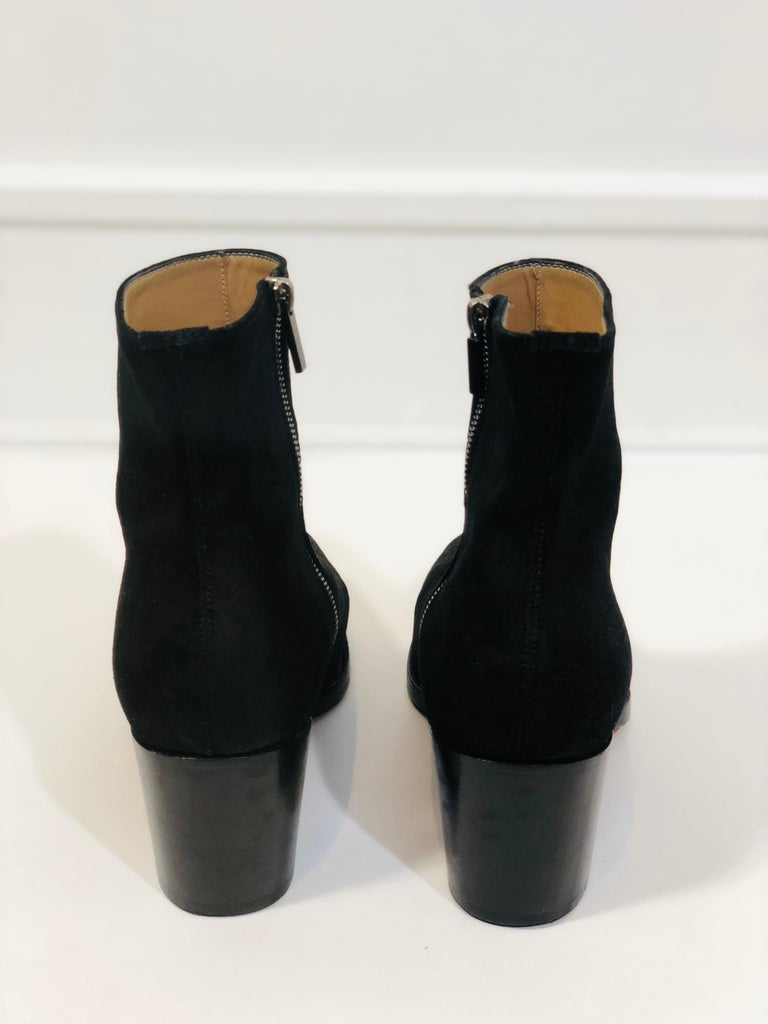 Women's or Men's Christian Louboutin Black Suede Booties  For Sale