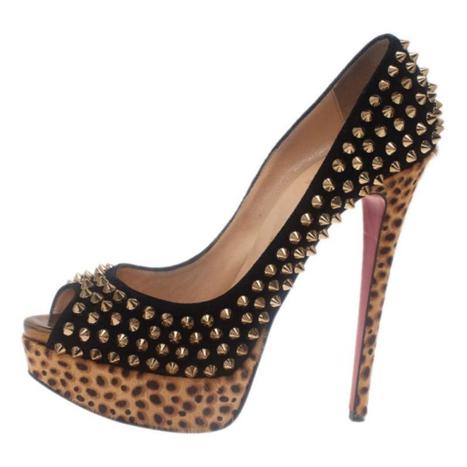 bea7a80ef40 Christian Louboutin Black Suede Leopard Pony Hair Lady Peep Spikes Platform  Pump For Sale at 1stdibs