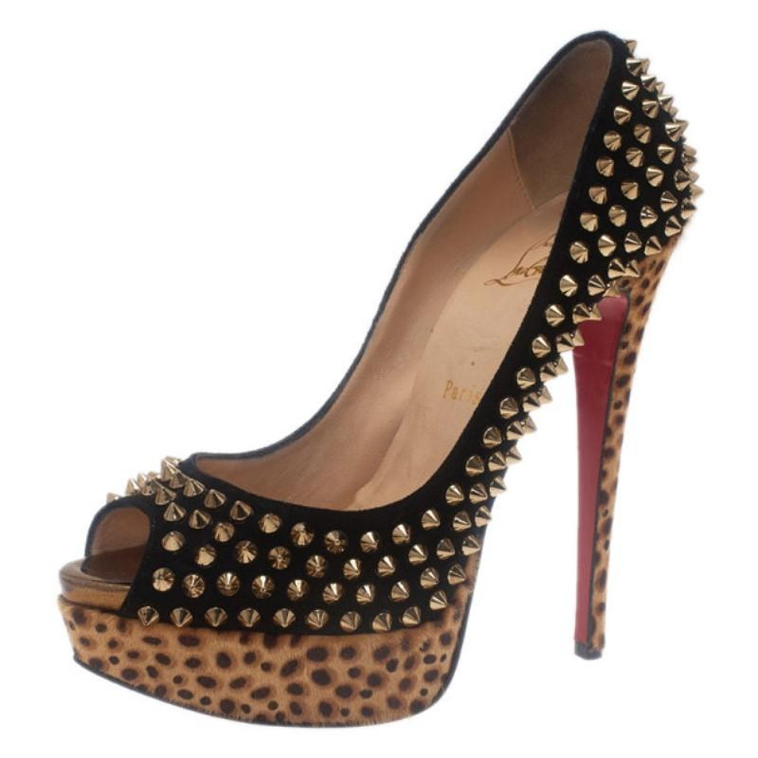 74afec399cba Christian Louboutin Black Suede Leopard Pony Hair Lady Peep Spikes Platform  Pump For Sale at 1stdibs