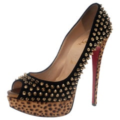 Christian Louboutin Black Suede Leopard Pony Hair Lady Peep Spikes Pumps Size 39