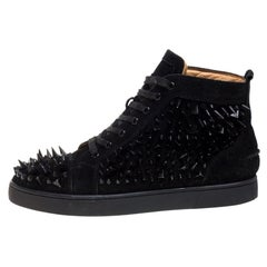 Christian Louboutin Black Suede Level Pik Pik Louis High Top Sneakers Size 43