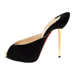 Christian Louboutin Black Suede Peep Toe Mules Size 36.5