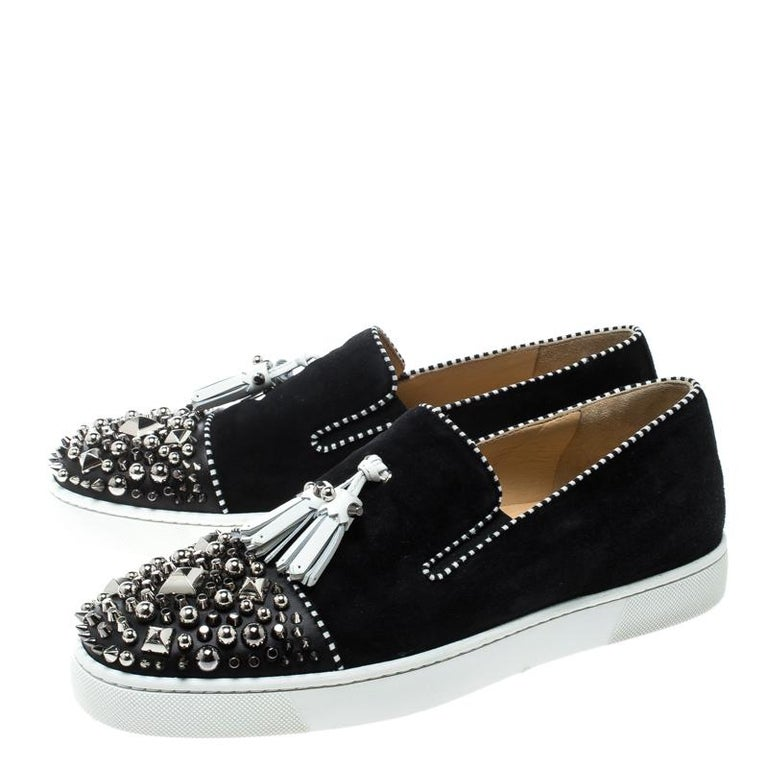 on sale 3be92 2031b Christian Louboutin Black Suede Spiked Tassel Detail Sneakers Size 42