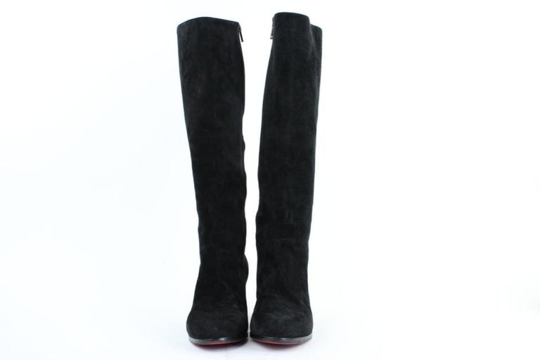 hot sale online 69a36 88deb Christian Louboutin Black Suede Tall Zip 27clt916 Boots/Booties