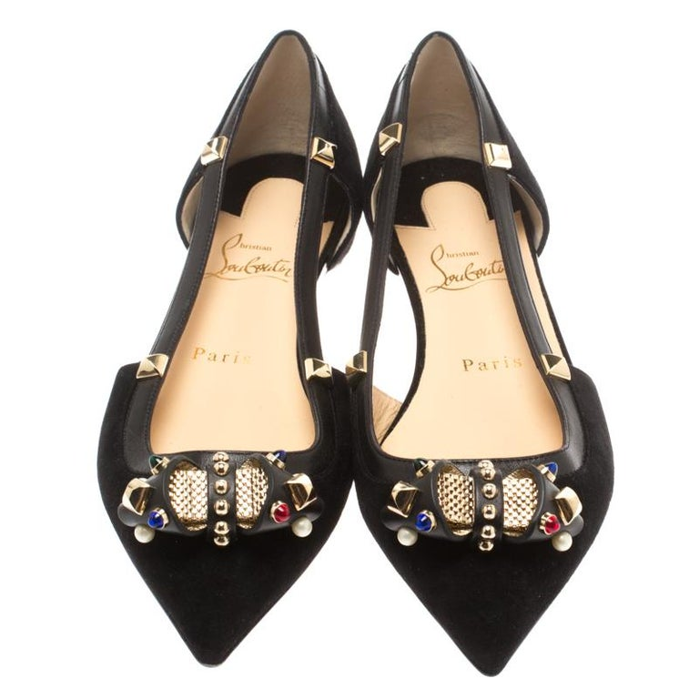 online store 35c32 63e43 Christian Louboutin Black Suede Tudor Young Cut Out Pointed Toe Flat Size 37