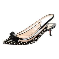 Christian Louboutin Black Velvet And Glitter Bow Slingback Sandals Size 38.5