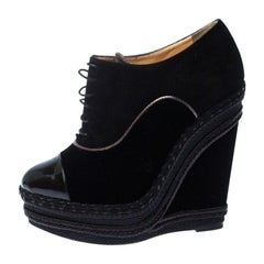 Christian Louboutin Black Velvet and Suede Lace Espadrilles Wedge Booties Size 3