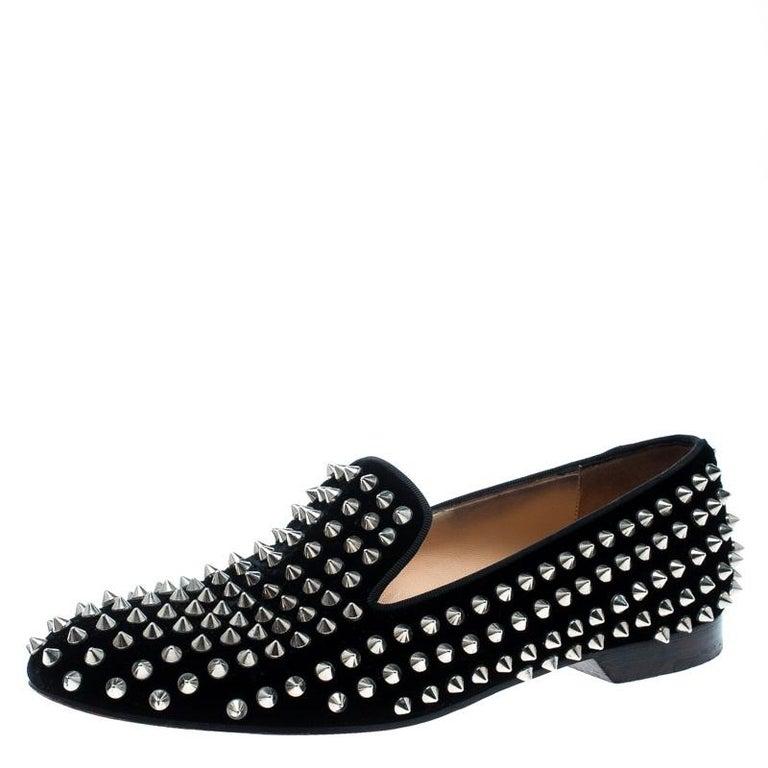 d47c6c8e5ff Christian Louboutin Black Velvet Rollerboy Spikes Flat Size 39
