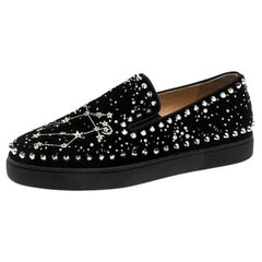 Christian Louboutin Black Velvet Spike Embellished Slip On Sneakers Size 36.5