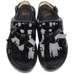 Christian Louboutin Black Vinyl Patent Leather Sandals