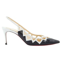 CHRISTIAN LOUBOUTIN black white triangular cut out slingback pumps heels EU37