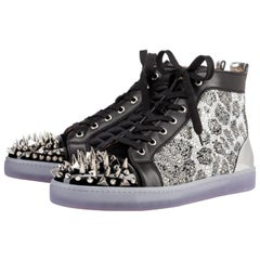 Christian Louboutin Black X Silver Strass No Limit Spike Toe High Top 6clb1222