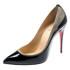 Christian Louboutin Blackr And Glitter Tucsick Pointed Toe Pumps Size 37.5