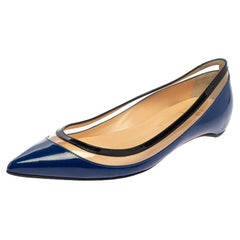 Christian Louboutin Blue/Black Patent Leather And PVC Paulina Flats Size 37.5