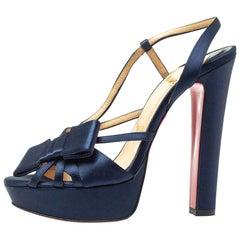 Christian Louboutin Blue Disco Noeud Bow Slingback Platform Sandals Size 38