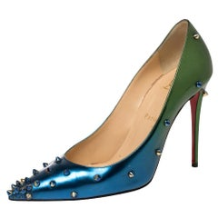 Christian Louboutin Blue/Green Patent Leather Degraspike Ombre Pumps Size 39