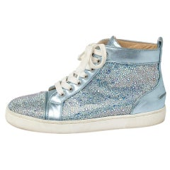 Christian Louboutin Blue Leather Embellished High Top Sneakers Size 38