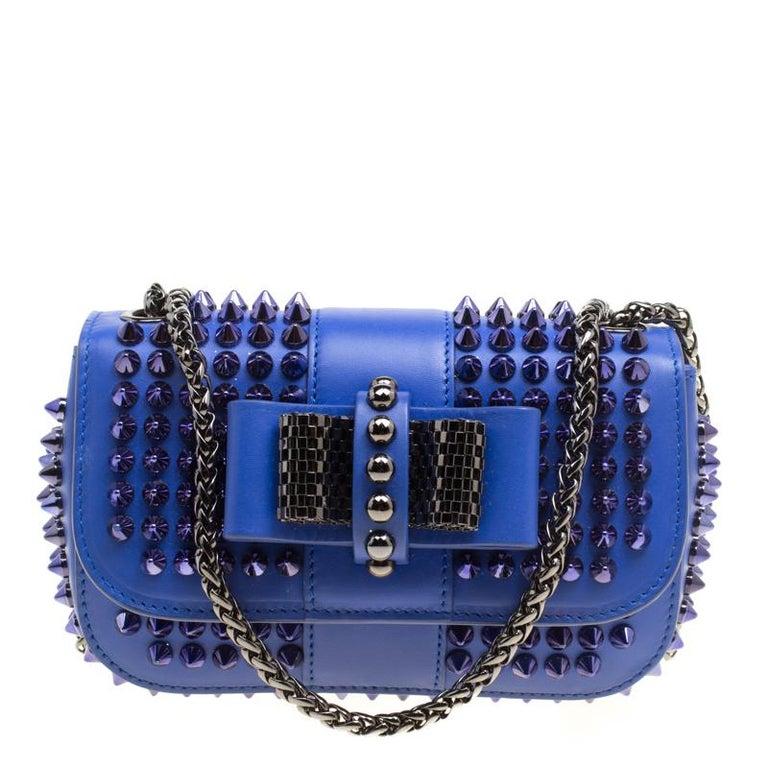 bab9e8d032f Christian Louboutin Blue Leather Mini Spiked Sweet Charity Crossbody Bag