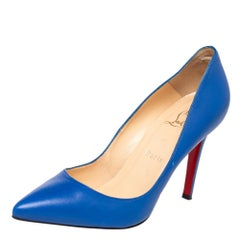 Christian Louboutin Blue Leather Pigalle Pumps Size 37.5