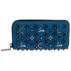 Christian Louboutin Blue Leather Spike Panettone Zip Around Wallet