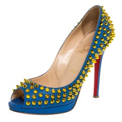 Christian Louboutin Blue Leather Yolanda Spikes Peep Toe Pumps Size 36.5