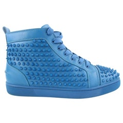 Christian Louboutin Blue Louis Calf Spikes 20clz0802 Flats