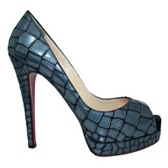 Christian Louboutin Blue Mirror Sequin And Satin Mosaic Sobek Pumps Size 39