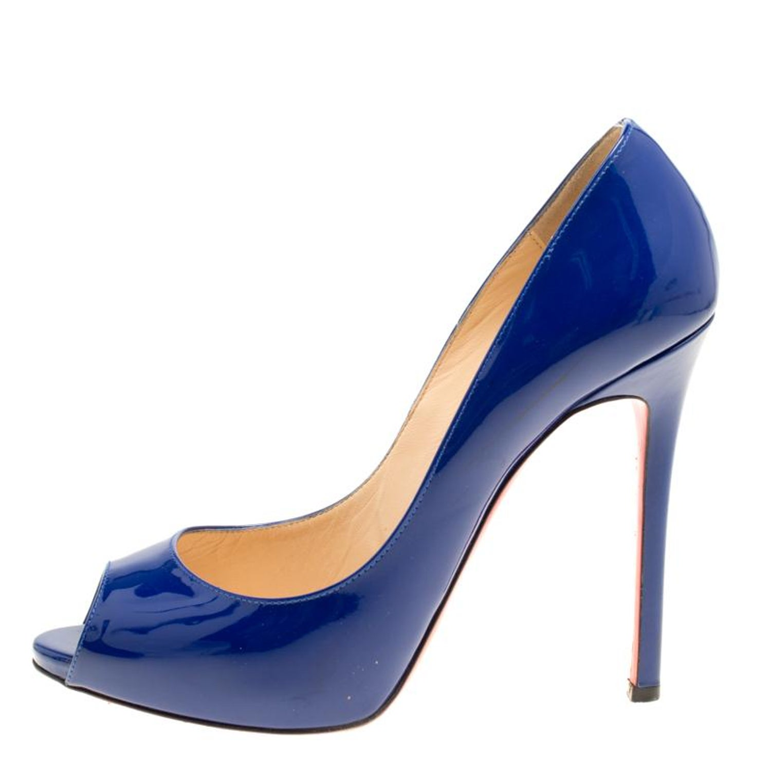 bcc1d62d9deb Christian Louboutin Blue Patent Leather Flo Peep Toe Pumps Size 39 For Sale  at 1stdibs