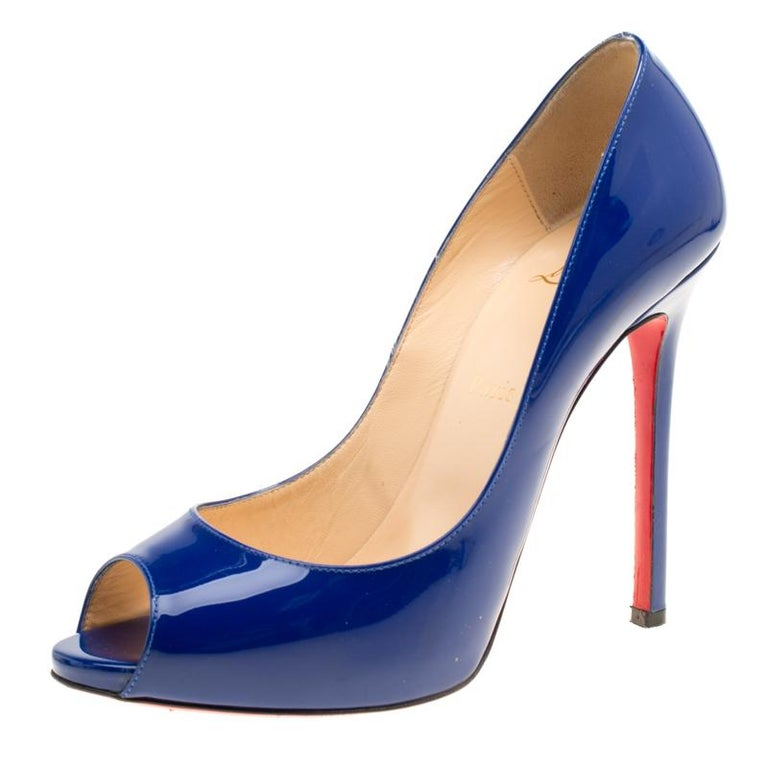 a2c2c3203ec6 Christian Louboutin Blue Patent Leather Flo Peep Toe Pumps Size 39 For Sale  at 1stdibs