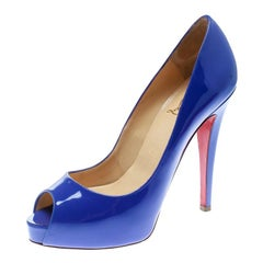 Christian Louboutin Blue Patent Leather Hyper Prive Peep Toe Pumps Size 37