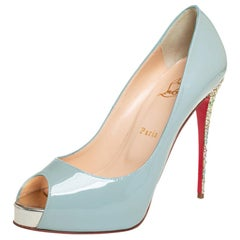 Christian Louboutin Blue Patent Leather New Very Prive Heel Pumps Size 40