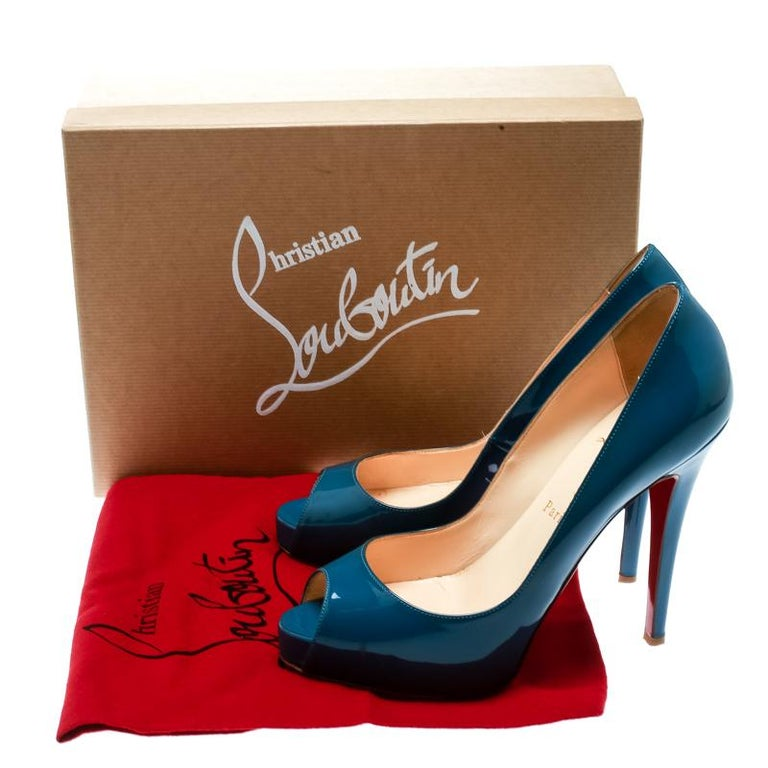 Christian Louboutin Blue Patent Leather Very Prive Peep Toe Pumps Size 38 4