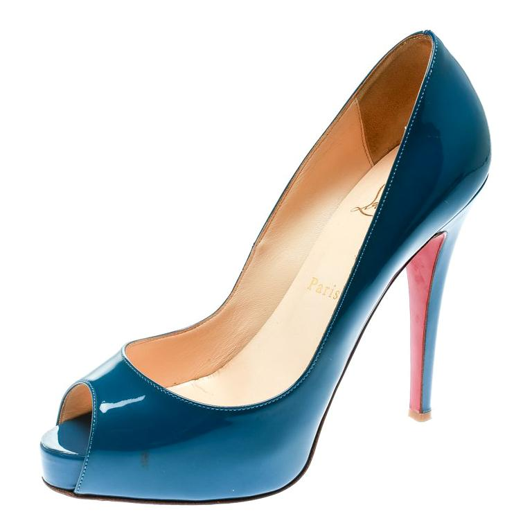 Christian Louboutin Blue Patent Leather Very Prive Peep Toe Pumps Size 38