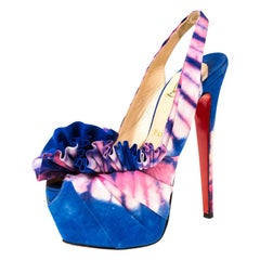 Christian Louboutin Blue/Pink Fabric High BouBou Bazin Slingback Sandals Size 38