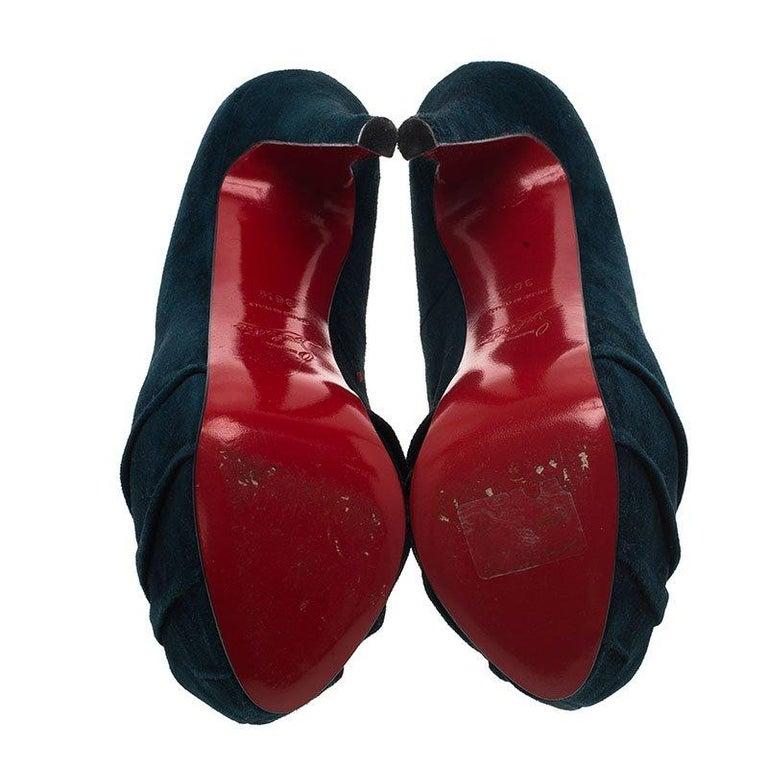 Christian Louboutin Blue Ruched Suede Drapesse Peep Toe Platform Pumps Size 36.5 For Sale 1