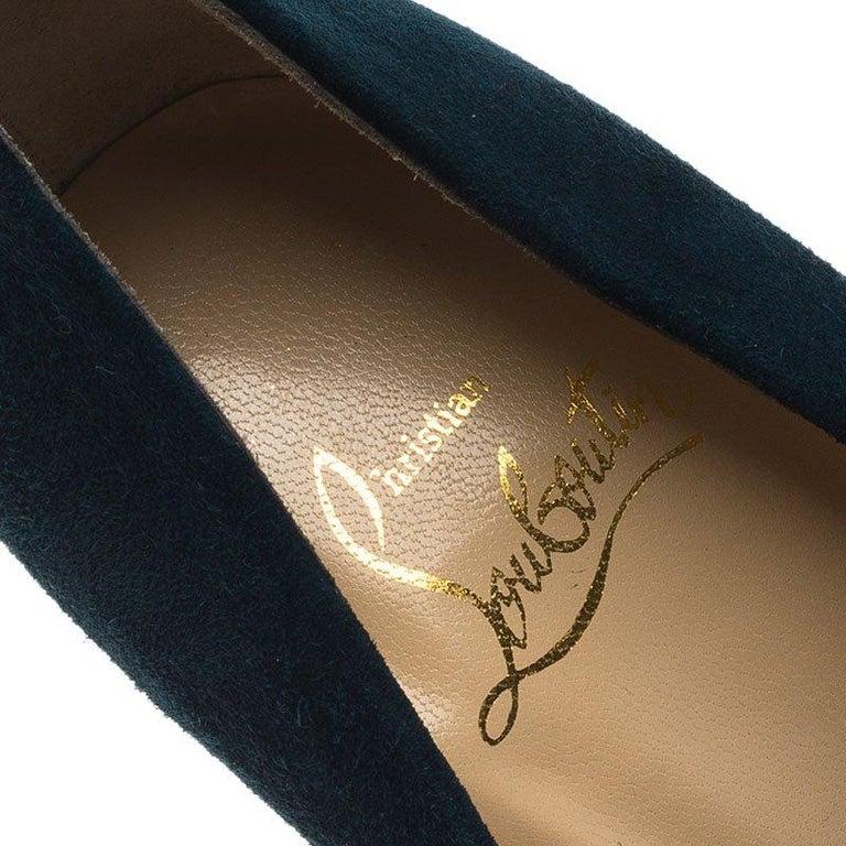 Christian Louboutin Blue Ruched Suede Drapesse Peep Toe Platform Pumps Size 36.5 For Sale 2