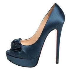 Christian Louboutin Blue Satin Madame Butterfly Peep Toe Platform Pumps Size 37