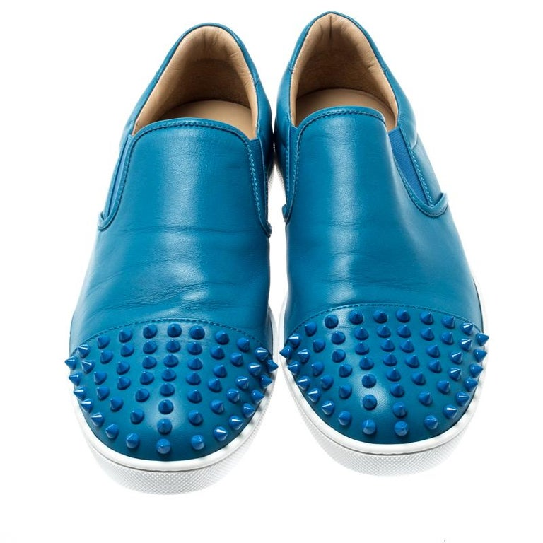 online retailer 7533e fd983 Christian Louboutin Blue Spike Leather Skate Slip On Sneakers Size 41